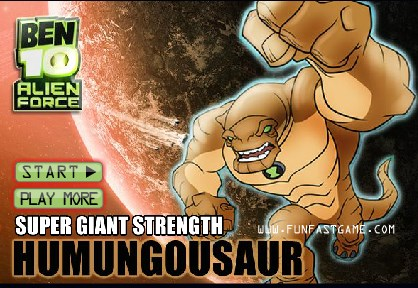 Play Ben10 alien force super giant strength humungousaur Game