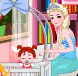 Play Elsa Care Annas Baby  Game