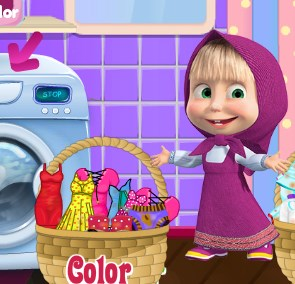 Play Masha Laundry Day Game