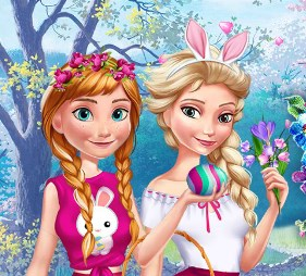 Play Elsa And Anna Easter Fun Game